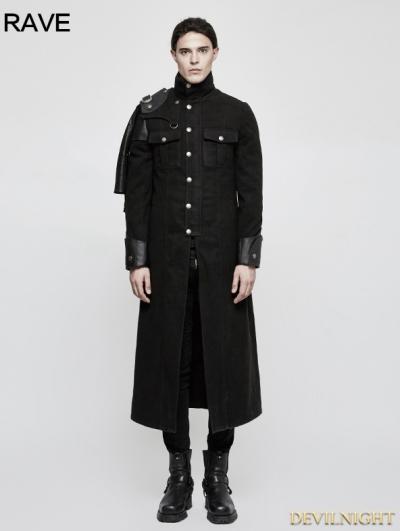 Black Gothic Punk Military Uniform Cape Jacket for Men