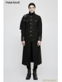 Black Gothic Punk Military Uniform Cape Jacket for Men