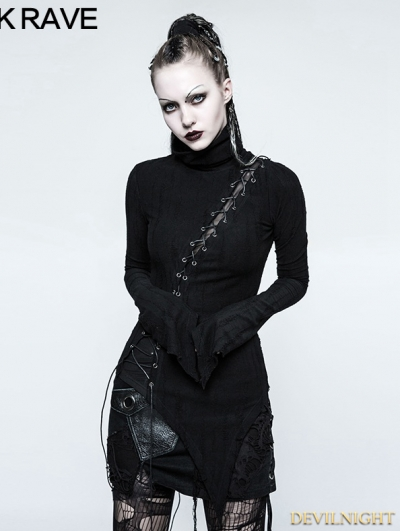 Black Gothic Punk Stand-up Collar Broken Seam T-shirt for Women