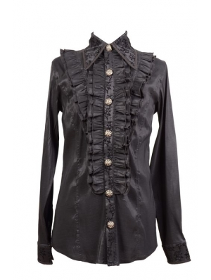 Black Long Sleeves Ruffle Gothic Blouse for Men