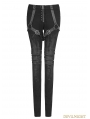 Black Gothic Punk Armor Brush Gum Pants for Women