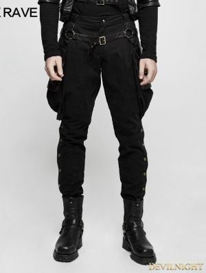 7e03a18bb2 Black Gothic Steampunk Riding Breeches for Men