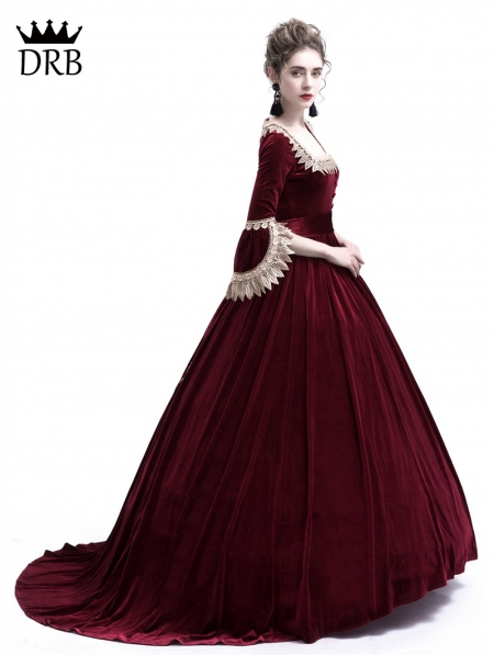 Wine Red Velvet Marie Antoinette Queen Theatrical
