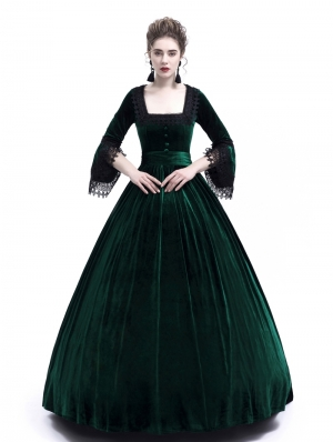 Green Velvet Marie Antoinette Queen Theatrical Victorian Dress