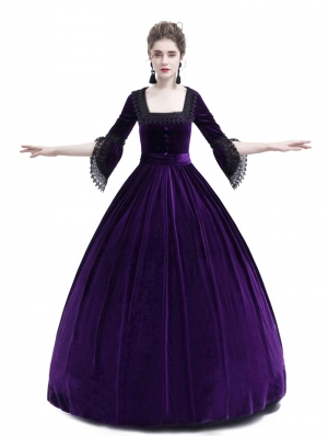 Purple Velvet Marie Antoinette Queen Theatrical Victorian Dress