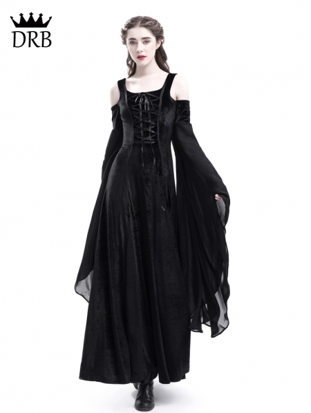 Black Velvet Off The Shoulder Medieval Dress Devilnight