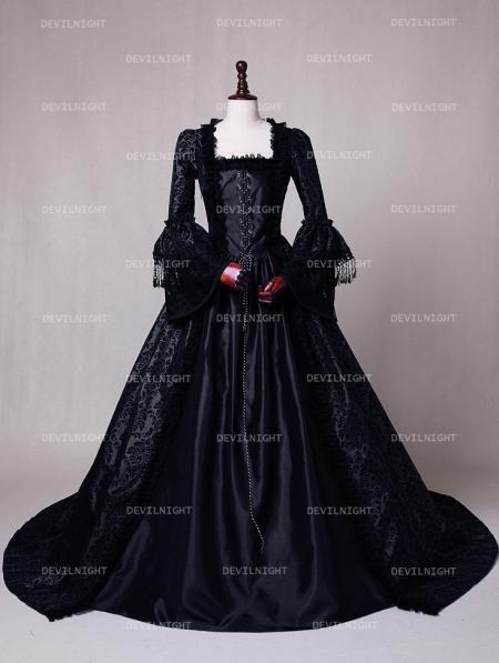 8152dc212297 Black Masked Ball Gothic Victorian Costume Dress - Devilnight.co.uk