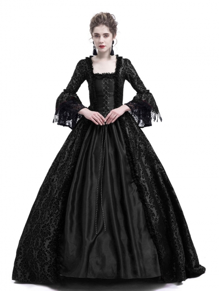ca4441b7aaa2 Black Masked Ball Gothic Victorian Costume Dress - Devilnight.co.uk