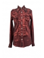 Red Long Sleeves Ruffle Gothic Blouse for Men