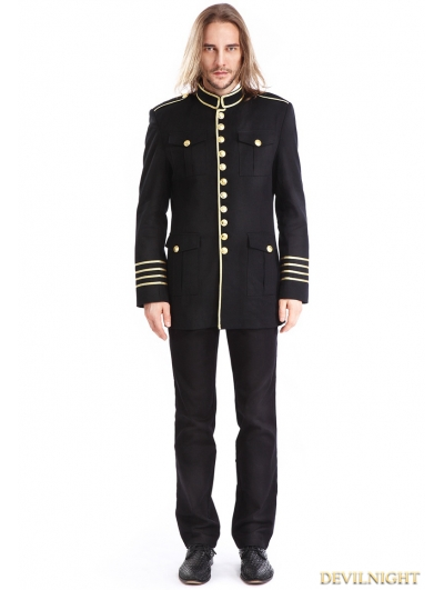 Black Mens Gothic Military Uniform Jacket