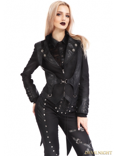 Black Gothic Punk Rock Short Jacket for Women