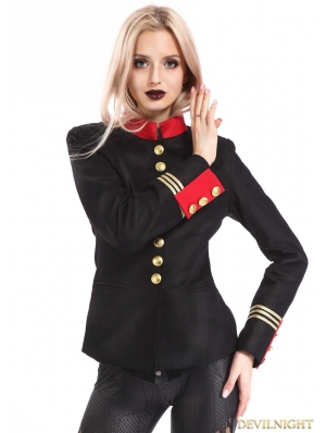 Black Gothic Military Uniform Jacket for Women