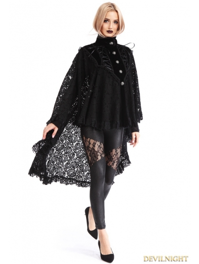 Black Gothic Lace High-Low Cape for Women