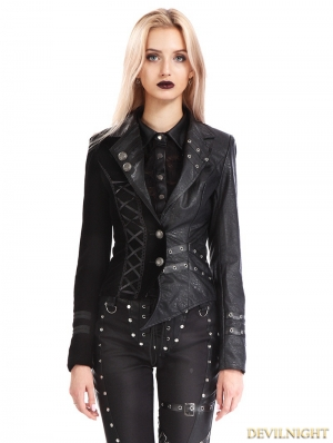 Black Gothic Punk Two Tone Short  Irregular Jacket for Women