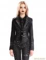 Black Gothic Punk Two Tone Short  Irregular Jacket for Women