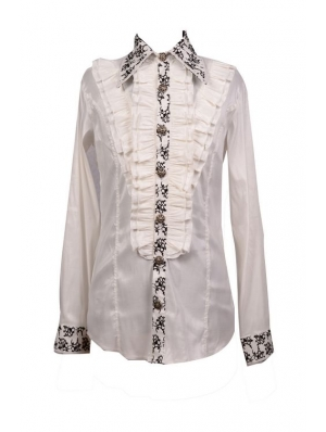 White Long Sleeves Ruffle Gothic Blouse for Men