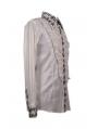 White Long Sleeves Ruffle Gothic Blouse for Men