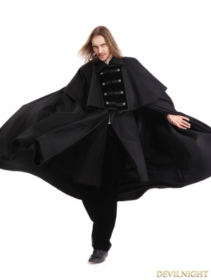 Black Gothic Vintage Long Coat with Detachable Shawl for Men