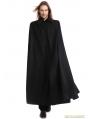 Black Gothic Vintage Long Coat with Detachable Shawl for Men