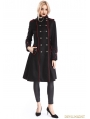 Black Gothic Hooded Double-Breasted Coat for Women