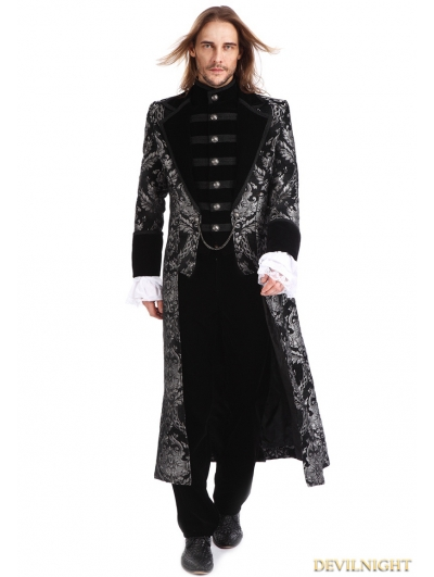 Sliver Printing Pattern Gothic Swallow Tail Long Coat for Men