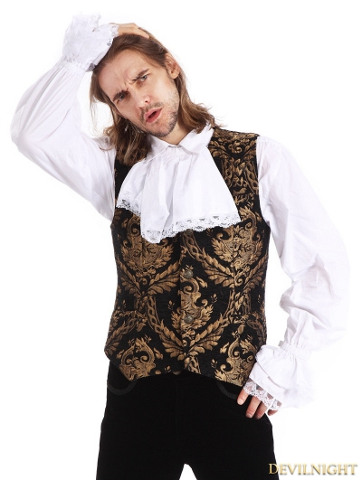 Gold Printing Pattern Gothic Vest for Men