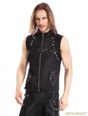 Black Gothic Punk Rock Waistcoat for Men