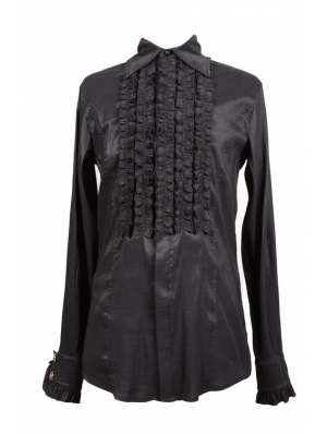 Black Long Sleeves Gothic Blouse for Men