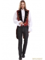 Red Printing Pattern Gothic Swallow Tail Vest for Men