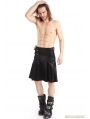 Black PU Leather Gothic Punk Half Pleated Skirt for Men