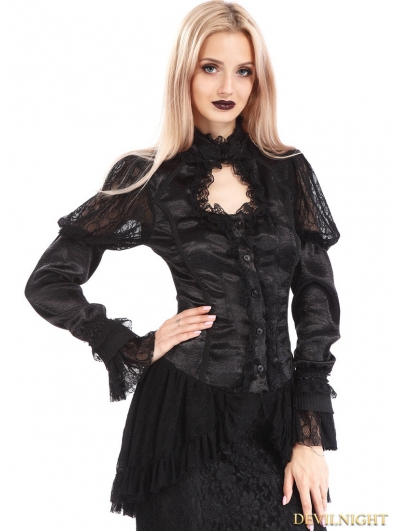 Black Vintage Long Sleeves Asymmetric Gothic Shirt for Women