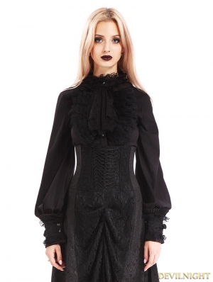 Black Vintage Gothic Bowtie Blouse for Women
