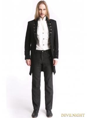 Black Vintage Pattern Gothic Swallow Tail Jacket for Men