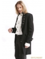 Black Vintage Pattern Gothic Swallow Tail Jacket for Men