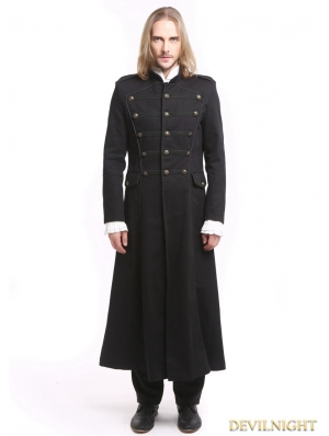 Black Vintage Gothic Long Trench Coat for Men