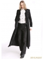 Black Vintage Pattern Gothic Long Double-Breasted Trench Coat for Men