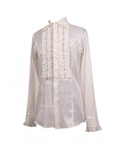 White Long Sleeves Gothic Blouse for Men