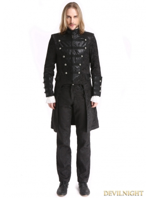 Black Vintage Pattern Gothic Double-Breasted Swallow Tail Jacket for Men