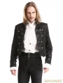 Black Vintage Pattern Gothic Two Wear Double-Breasted Coat for Men