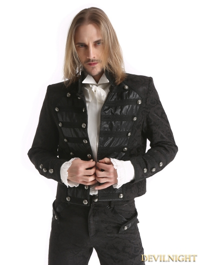 Black Vintage Pattern Gothic Short Jacket for Men