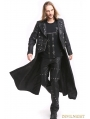 Black PU Leather Gothic Punk Military Style Long Trench Coat for Men