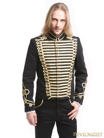 Black Gold Vintage Gothic Palace Style Short Jacket for Men