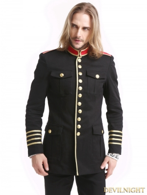 Black Gothic Military Uniform Jacket for Men