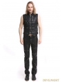 Black PU Leather Rivets Gothic Punk Waistcoat for Men