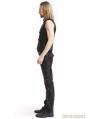 Black PU Leather Rivets Gothic Punk Waistcoat for Men