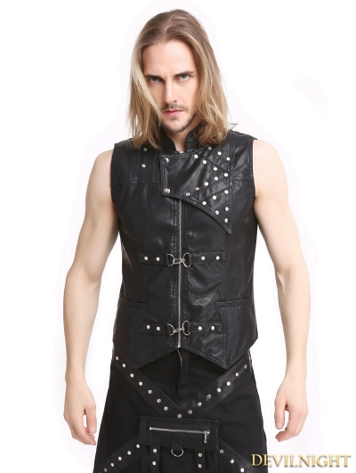 Black PU Leather Gothic Punk Waistcoat for Men