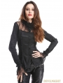 Black Long Sleeves Beading Gothic Blouse for Women