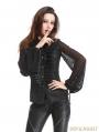 Black Gothic Dot Ruffles Blouse for Women