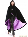 Black and Purple Gothic Female Woolen Long Hoodie Coat