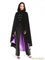 Black and Purple Gothic Female Woolen Long Hoodie Coat